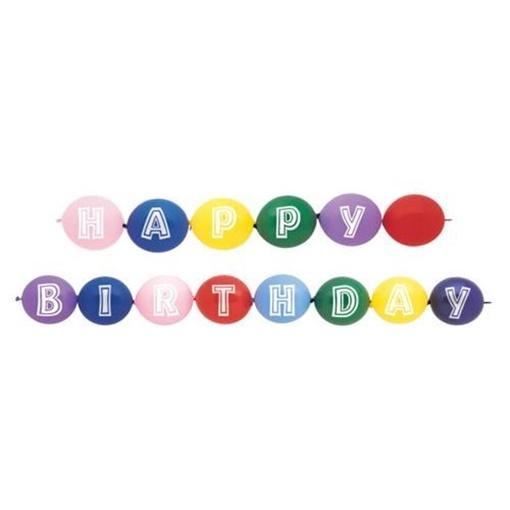 Obrázek z Spojovací balonky Happy Birthday 14 ks