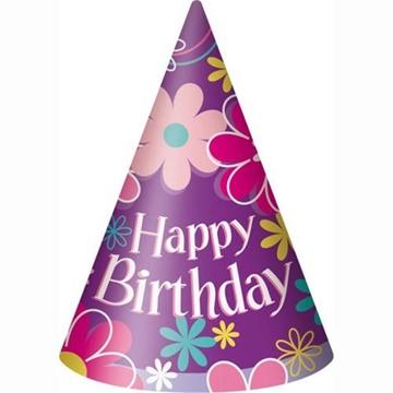 Obrázek Papírové čepičky Květiny Happy Birthday 8 ks