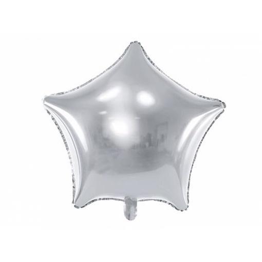 Obrázek z Foliový balonek hvězda stříbrná 48 cm - balené