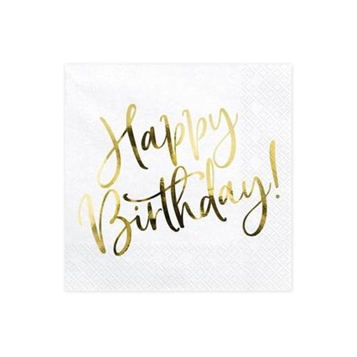 Obrázek z Papírové ubrousky bílé se zlatým Happy Birthday 20 ks