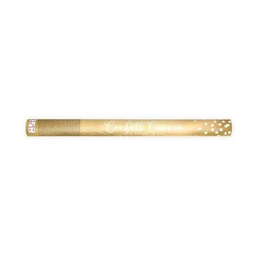 Obrázek z Vystřelovací konfety metalická srdíčka zlatá - 60 cm