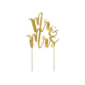 Obrázek Dekorace na dort nápis Mr and Mrs zlatá 25 cm