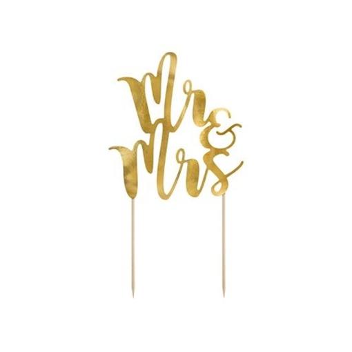 Obrázek z Dekorace na dort nápis Mr and Mrs zlatá 25 cm