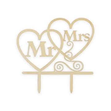 Obrázek Dřevěná dekorace na dort - Mr a Mrs - srdíčka