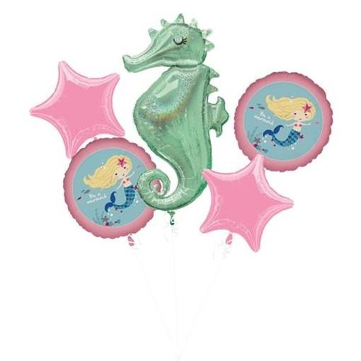 Obrázek z Sada foliových balonků Mořská panna pink - 5 ks