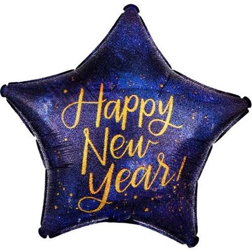 Obrázek z Foliový balonek hvězda Happy New Year - holografická 45 cm