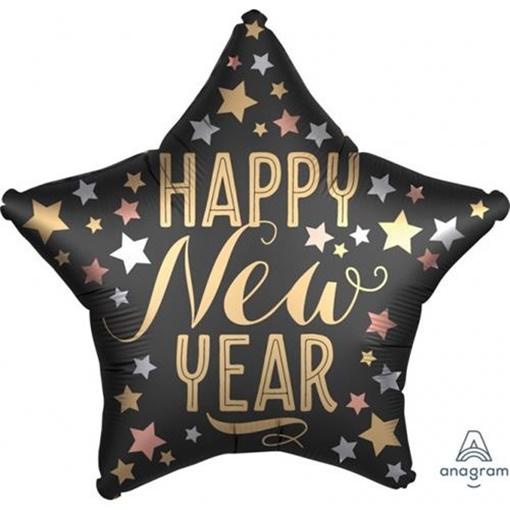 Obrázek z Foliový balonek hvězda Happy New Year - hvězdy 45 cm