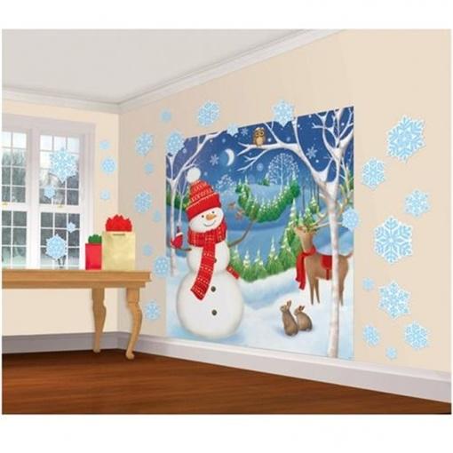Obrázek z Vánoční dekorace na zeď - Vánoční sněhulák 165 x 83 cm