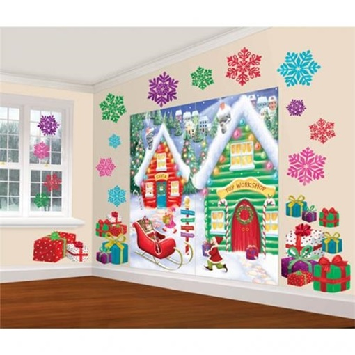 Obrázek z Vánoční dekorace na zeď - Vánoční chaloupky 165 x 83 cm