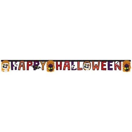 Obrázek z Party nápis papírový Happy Halloween - barevný 180 cm