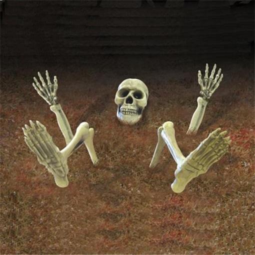Obrázek z Halloweenská zahradní dekorace - kostra 10 ks