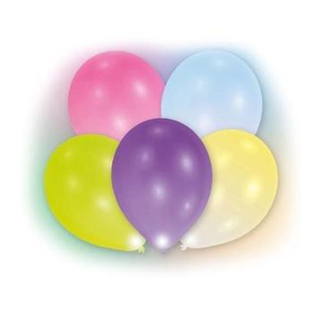 Obrázek Dekorační LED svíticí balonky - barevné balonky 28 cm - 5 ks