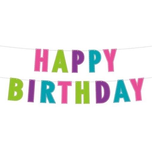 Obrázek z Party nápis Happy Birthday - barevný s glitrem 200 cm