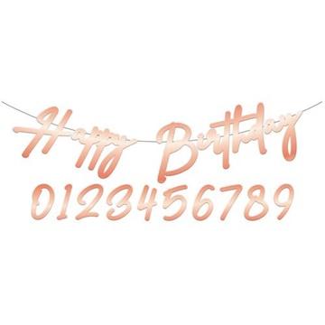 Obrázek Narozeninový nápis Happy Birthday Elegant Lush Blush 100 cm