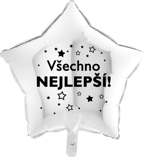 Obrázek z Foliový balonek Všechno nejlepsí hvězdy - bílý - 45 cm