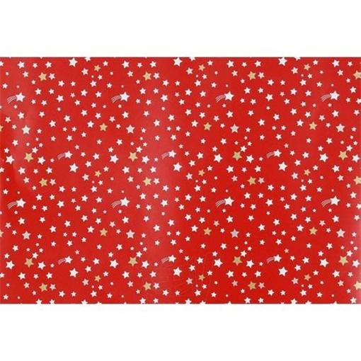 Obrázek z Balící papír Vánoční - hvězdičky - červený 10 m