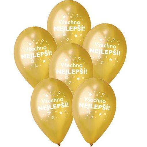 Obrázek z Balonky Všechno nejlepší CZ Zlaté 6 ks, 30 cm