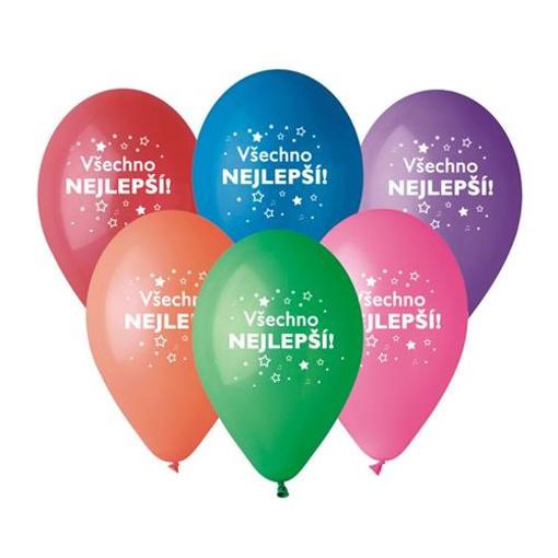 Obrázok z Balóniky Všechno nejlepší CZ Mix barev 6 ks, 30 cm