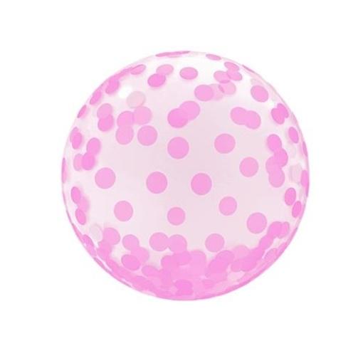 Obrázek z Bublina průhledná - růžové tečky 46 cm