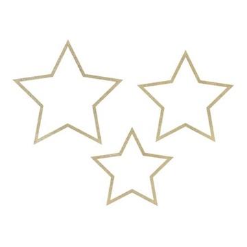 Obrázek Závěsné hvězdy dřevěné se zlatým zdobením 3 ks
