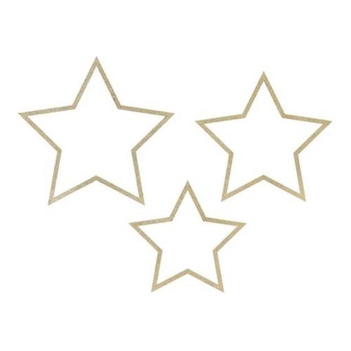 Obrázek z Závěsné hvězdy dřevěné se zlatým zdobením 3 ks