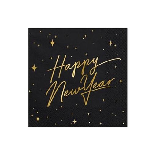 Obrázek z Papírové ubrousky LUX černé s nápisem Happy New Year 20 ks - Hvězdy