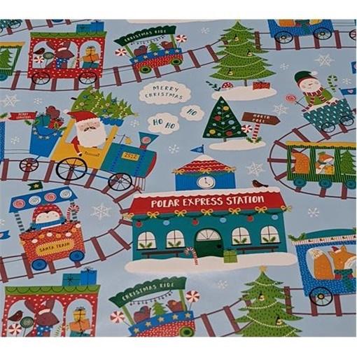 Obrázek z Balící papír Vánoční - dětský - Santa train 2 m