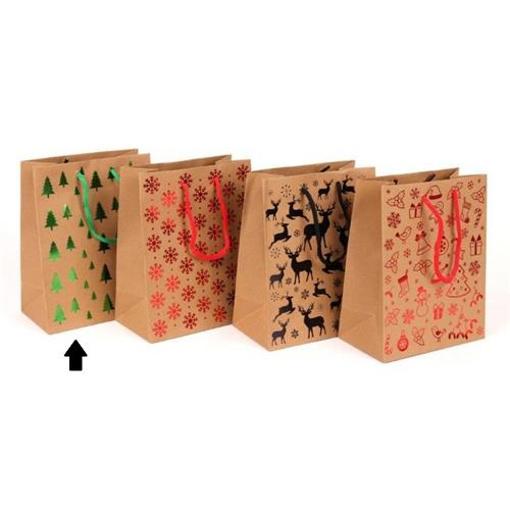 Obrázek z Dárková taška Vánoční hnědá - stromky 18x10x23 cm