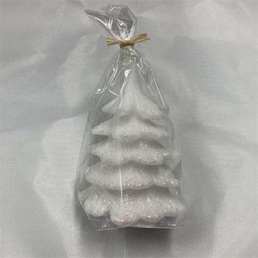 Obrázek z Svíčka Vánoční stromek s glitrem - 10 cm