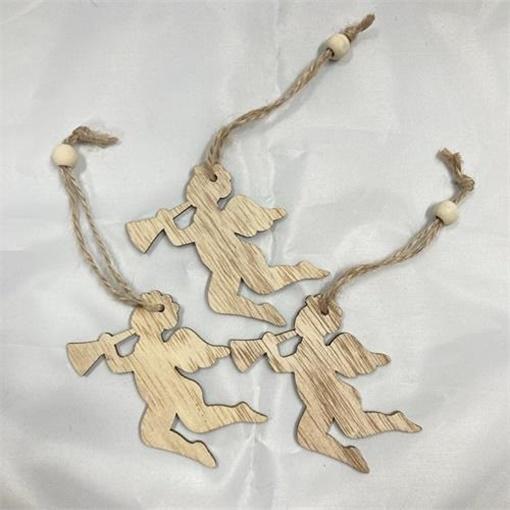 Obrázek z Dřevěné ozdoby Andělé natur - 3ks