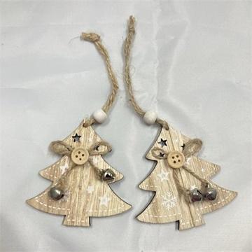 Obrázek Dřevěné ozdoby Vánoční stromky natur - 2ks