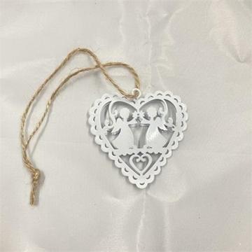 Obrázek Kovová ozdoba Srdce s andělíčky - 6 cm
