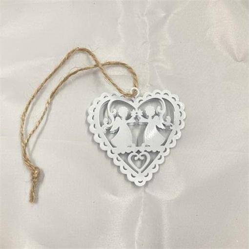 Obrázek z Kovová ozdoba Srdce s andělíčky - 6 cm