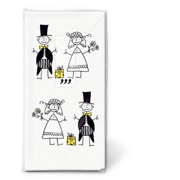 Obrázek Kapesníčky s potiskem Ženich a nevěsta 10 ks