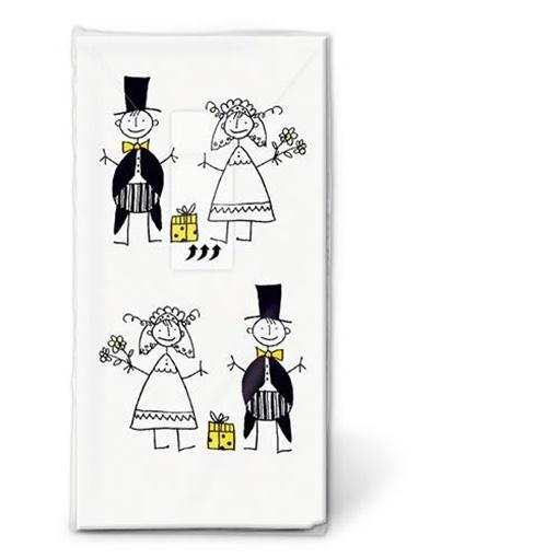 Obrázek z Kapesníčky s potiskem Ženich a nevěsta 10 ks