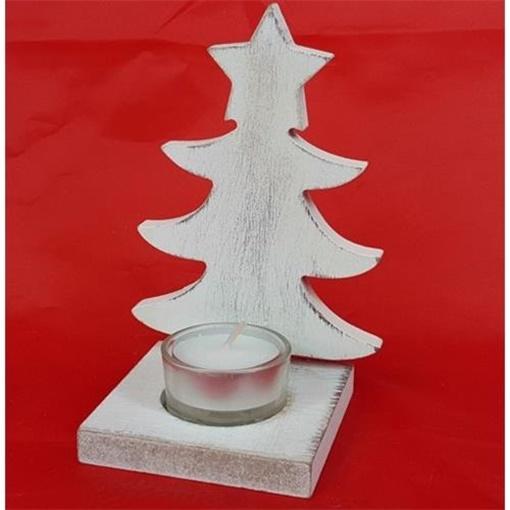Obrázek z Svícen stromek bílý - 15 cm - na čajovou svíčku