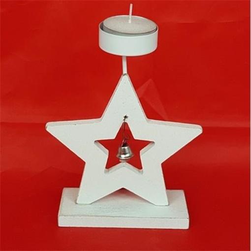 Obrázek z Dřevěný svícen hvězda se zvonkem na čajovou svíčku
