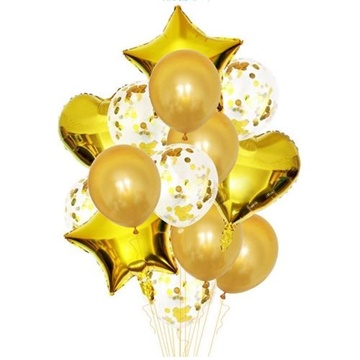 Obrázek Balonkový buket Gold - 14 ks