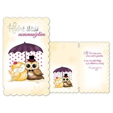 Obrázek Svatební přání Hodně štěstí novomanželům - Sovičky