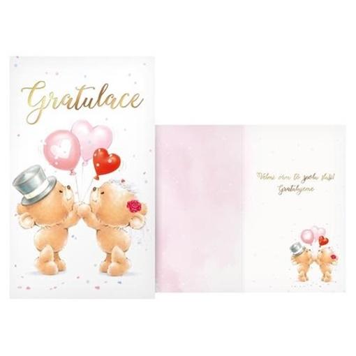 Obrázek z Svatební přání Gratulace zamilovaní medvídci
