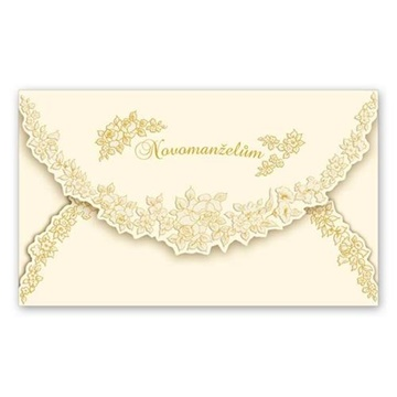 Obrázek Svatební přání Novomanželům - zlaté růžičky