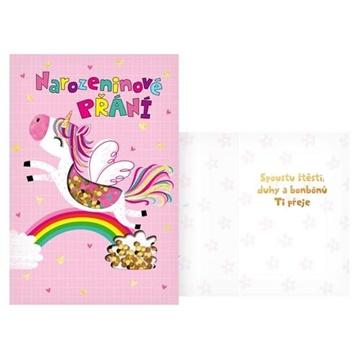 Obrázek Narozeninové přání dětské - Skákající jednorožec