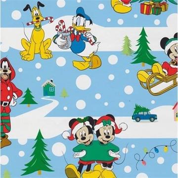 Obrázek Balící papír Mickey a kamarádi modrý Vánoční 70 x 100 cm - 2 ks