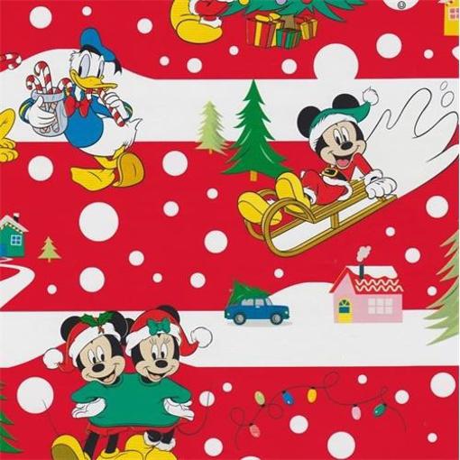 Obrázek z Balící papír Mickey a kamarádi červený Vánoční 70 x 100 cm - 2 ks