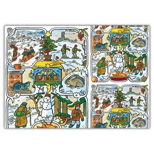 Obrázek z Balící papír Vánoční Ladovská zima 100 x70 cm - 2 ks