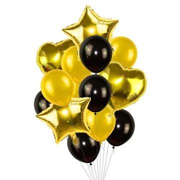 Obrázek Balonkový buket Zlato Černý - 14 ks