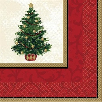 Obrázek Papírové vánoční ubrousky se stromkem 16 ks