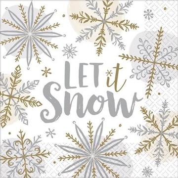 Obrázek Papírové vánoční ubrousky Let it Snow 16 ks