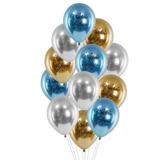 Obrázek z Balonkový buket Chrome Všechno nejlepší Blue - 12 ks