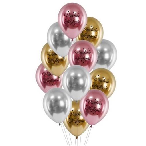 Obrázek z Balonkový buket Chrome Všechno nejlepší Pink - 12 ks